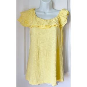 Lilly Pulitzer Wynne Ruffle Yellow Burnout Top